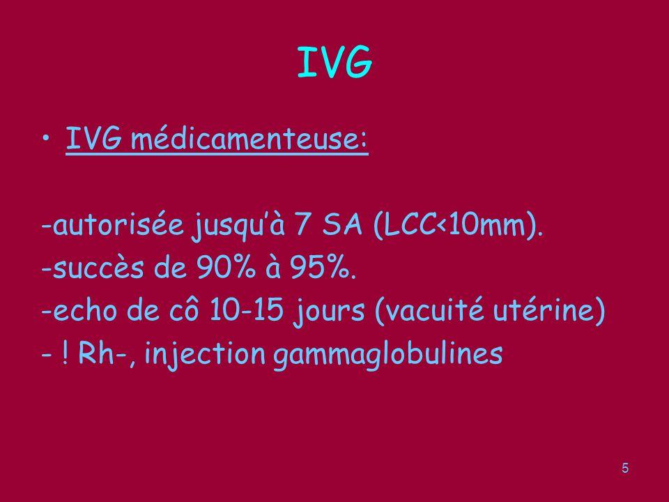 6 IVG IVG médicamenteuse: Hospitalisation pas obligatoire 1cp de 200mg de mifépristone (Mifégine r, RU 486), 2eme cs ou femme confirme son choix, en présence dun docteur en médecine.