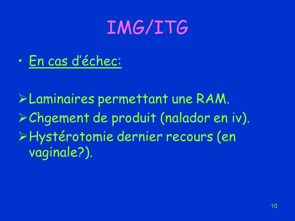 10 IMG/ITG En cas déchec: Laminaires permettant une RAM. Chgement de produit (nalador en iv). Hystérotomie dernier recours (en vaginale?).