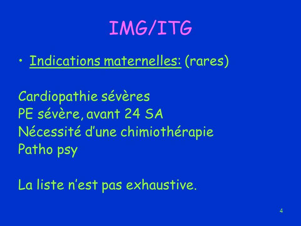 4 IMG/ITG Indications maternelles: (rares) Cardiopathie sévères PE sévère, avant 24 SA Nécessité dune chimiothérapie Patho psy La liste nest pas exhau