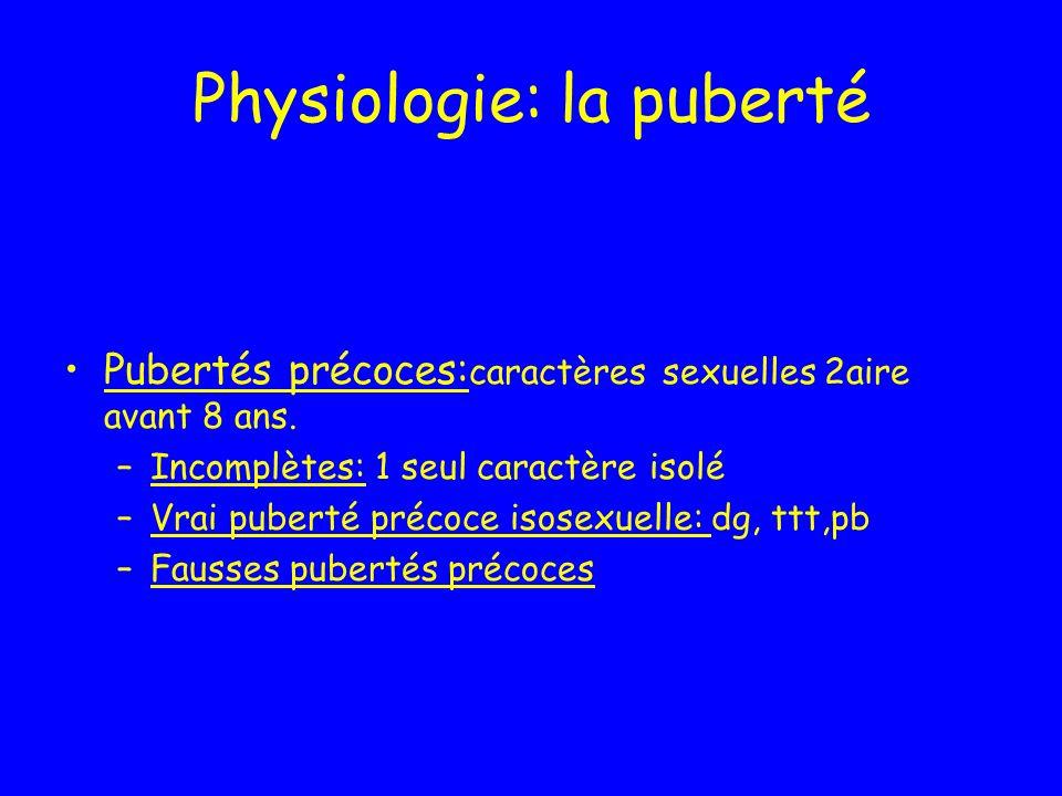 Physiologie: la puberté Pubertés précoces: caractères sexuelles 2aire avant 8 ans. –Incomplètes: 1 seul caractère isolé –Vrai puberté précoce isosexue