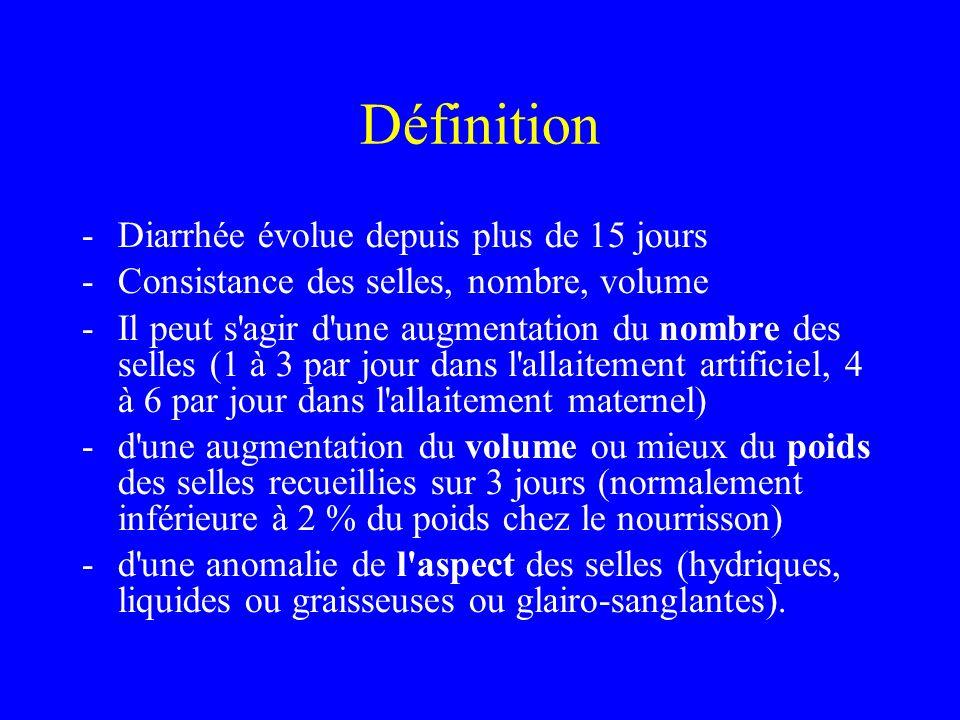 Définition -Diarrhée évolue depuis plus de 15 jours -Consistance des selles, nombre, volume -Il peut s'agir d'une augmentation du nombre des selles (1