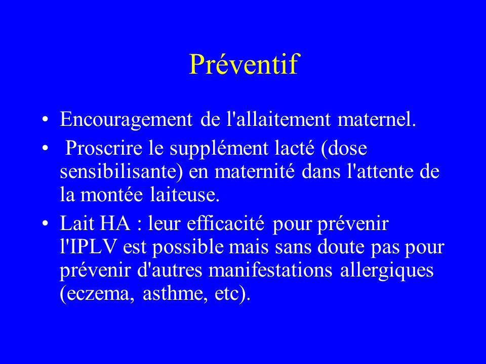 Préventif Encouragement de l'allaitement maternel. Proscrire le supplément lacté (dose sensibilisante) en maternité dans l'attente de la montée laiteu