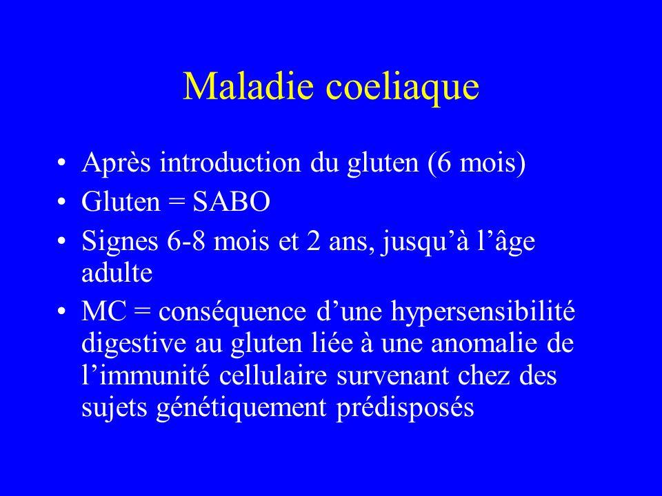 Maladie coeliaque Après introduction du gluten (6 mois) Gluten = SABO Signes 6-8 mois et 2 ans, jusquà lâge adulte MC = conséquence dune hypersensibil