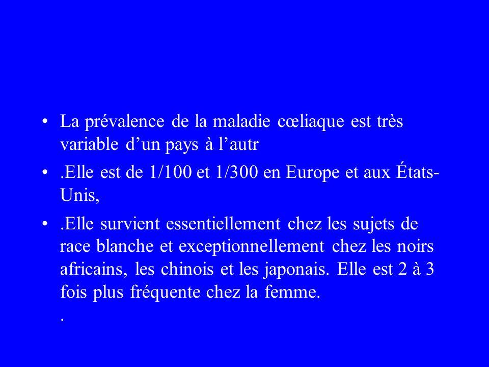La prévalence de la maladie cœliaque est très variable dun pays à lautr.Elle est de 1/100 et 1/300 en Europe et aux États- Unis,.Elle survient essenti