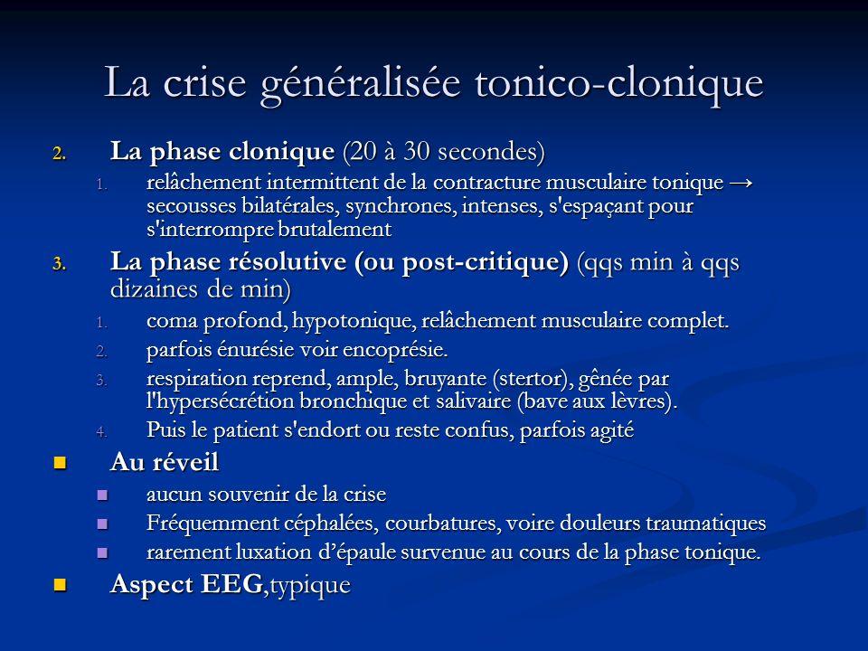 La crise généralisée tonico-clonique 50% des crises 50% des crises Elle se déroule en trois phases Elle se déroule en trois phases 1. La phase tonique