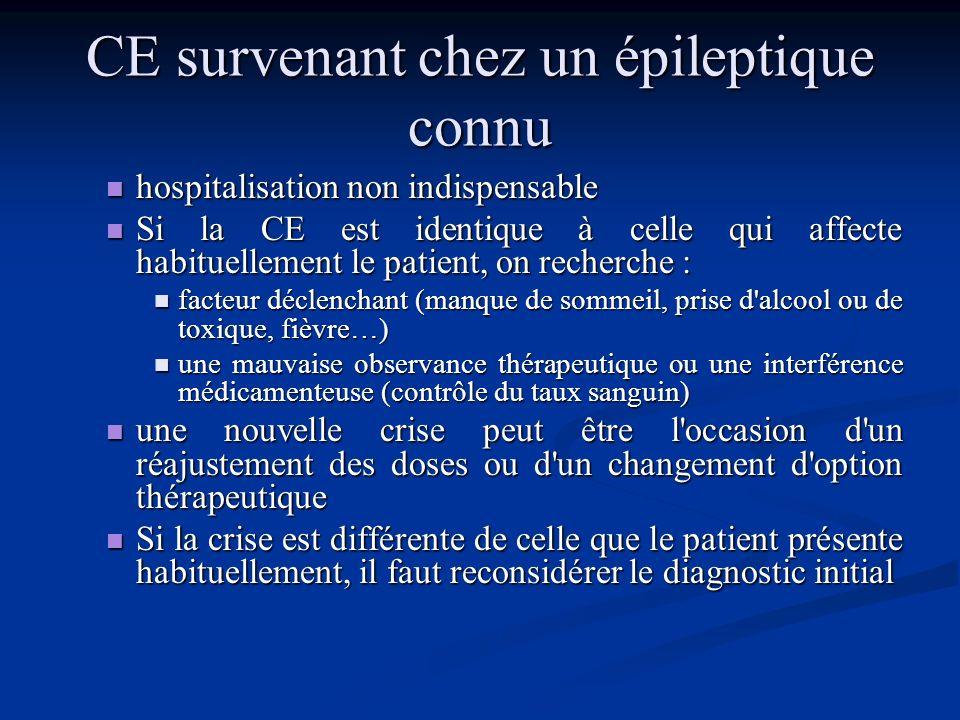Traitement à la phase aiguë L'administration d'un médicament anti-épileptique (MAE) en urgence n'est pas justifiée après une crise isolée. L'administr