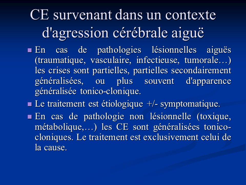 CE survenant chez un épileptique connu hospitalisation non indispensable hospitalisation non indispensable Si la CE est identique à celle qui affecte