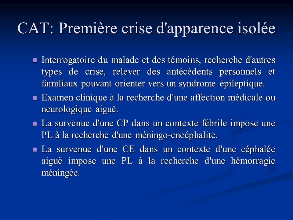 CE survenant dans un contexte d'agression cérébrale aiguë En cas de pathologies lésionnelles aiguës (traumatique, vasculaire, infectieuse, tumorale…)