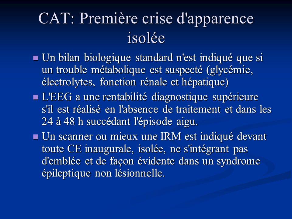 CAT: Première crise d'apparence isolée Interrogatoire du malade et des témoins, recherche d'autres types de crise, relever des antécédents personnels
