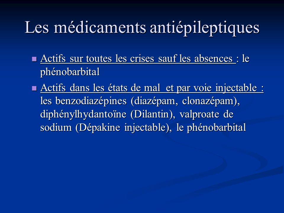 Les médicaments antiépileptiques Actifs sur tous les types de crises y compris les absences et les myoclonies: le valproate de sodium (Dépakine), et l
