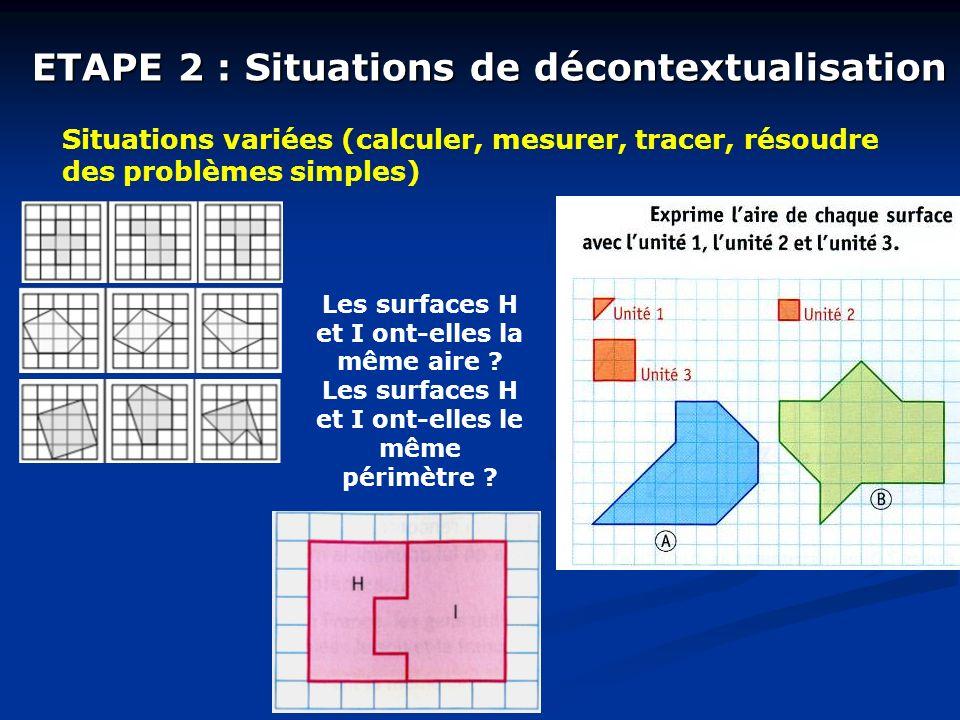 ETAPE 2 : Situations de décontextualisation Situations variées (calculer, mesurer, tracer, résoudre des problèmes simples) Les surfaces H et I ont-elles la même aire .