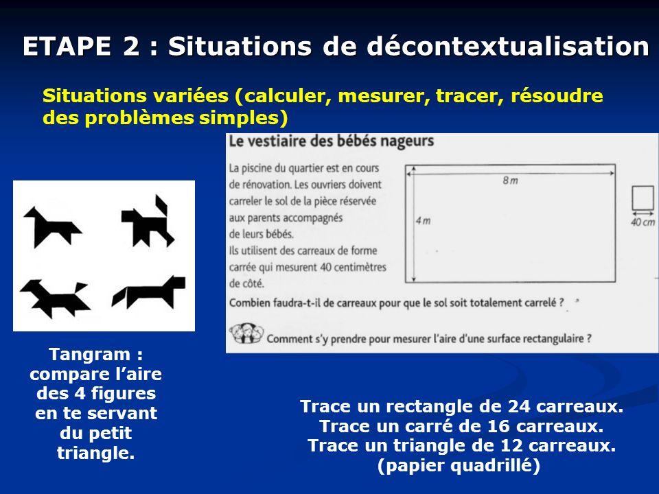 ETAPE 2 : Situations de décontextualisation Situations variées (calculer, mesurer, tracer, résoudre des problèmes simples) Tangram : compare laire des 4 figures en te servant du petit triangle.