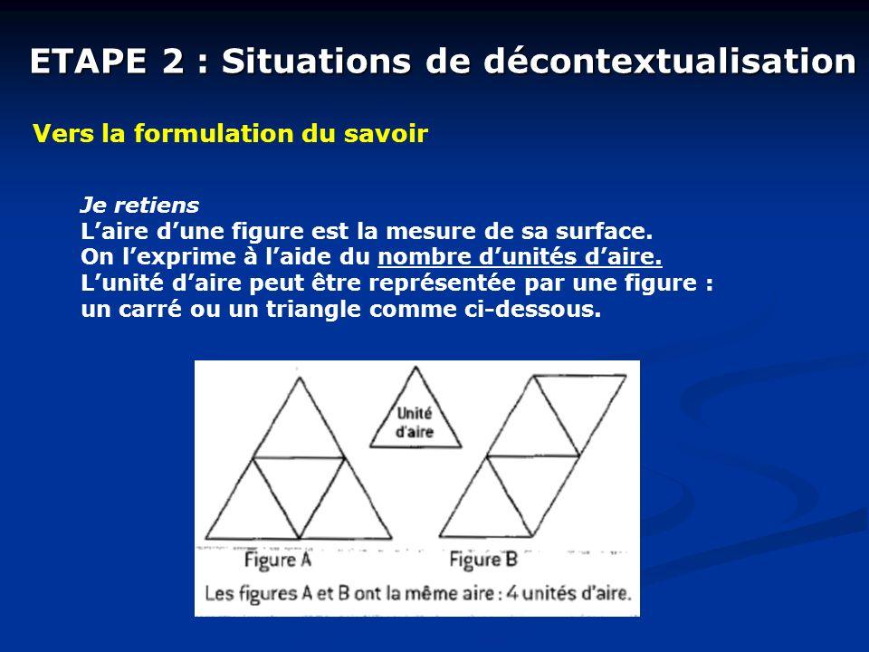 ETAPE 2 : Situations de décontextualisation Vers la formulation du savoir Je retiens Laire dune figure est la mesure de sa surface. On lexprime à laid