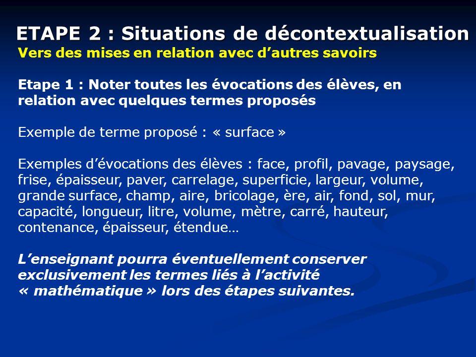 ETAPE 2 : Situations de décontextualisation Vers des mises en relation avec dautres savoirs Etape 1 : Noter toutes les évocations des élèves, en relat