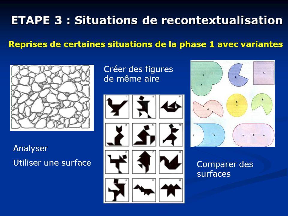 ETAPE 3 : Situations de recontextualisation Reprises de certaines situations de la phase 1 avec variantes Analyser Utiliser une surface Créer des figures de même aire Comparer des surfaces