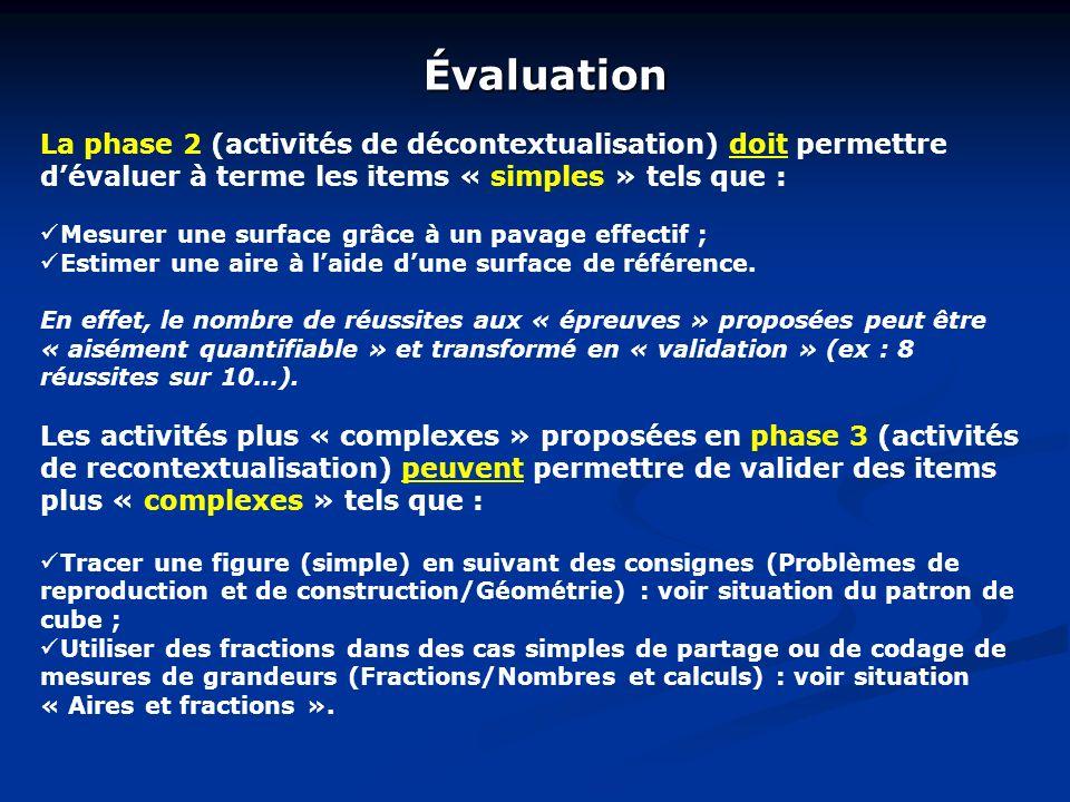 Évaluation La phase 2 (activités de décontextualisation) doit permettre dévaluer à terme les items « simples » tels que : Mesurer une surface grâce à un pavage effectif ; Estimer une aire à laide dune surface de référence.