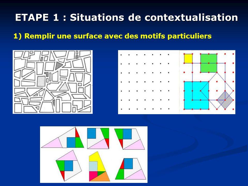 ETAPE 1 : Situations de contextualisation 1) Remplir une surface avec des motifs particuliers