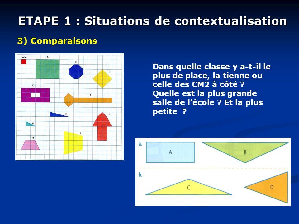 ETAPE 1 : Situations de contextualisation 3) Comparaisons Dans quelle classe y a-t-il le plus de place, la tienne ou celle des CM2 à côté ? Quelle est
