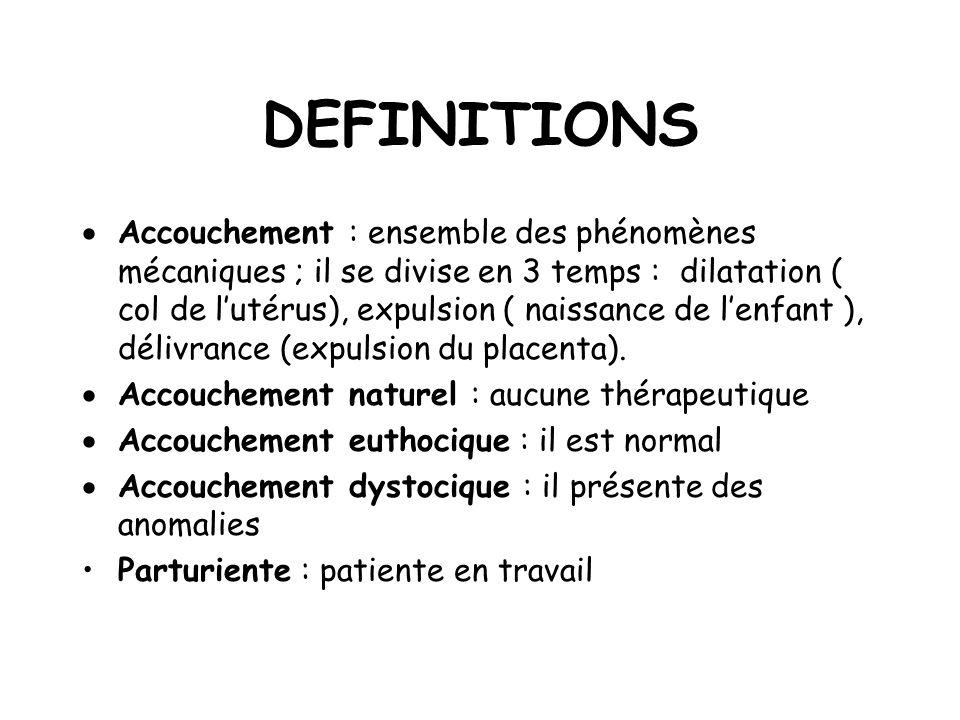 DEFINITIONS Accouchement : ensemble des phénomènes mécaniques ; il se divise en 3 temps : dilatation ( col de lutérus), expulsion ( naissance de lenfant ), délivrance (expulsion du placenta).