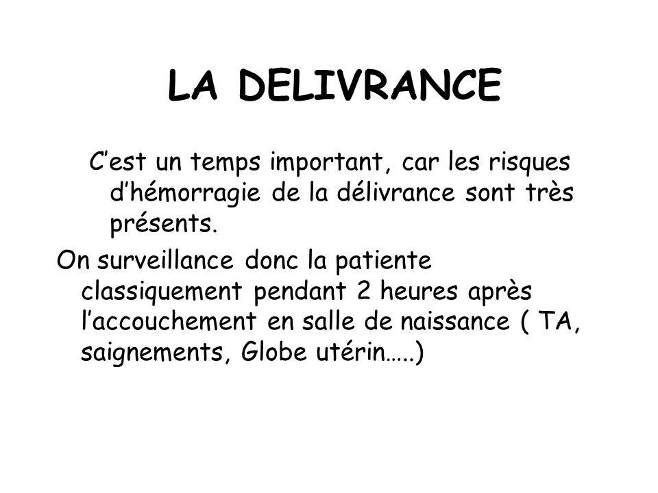 LA DELIVRANCE Cest un temps important, car les risques dhémorragie de la délivrance sont très présents.