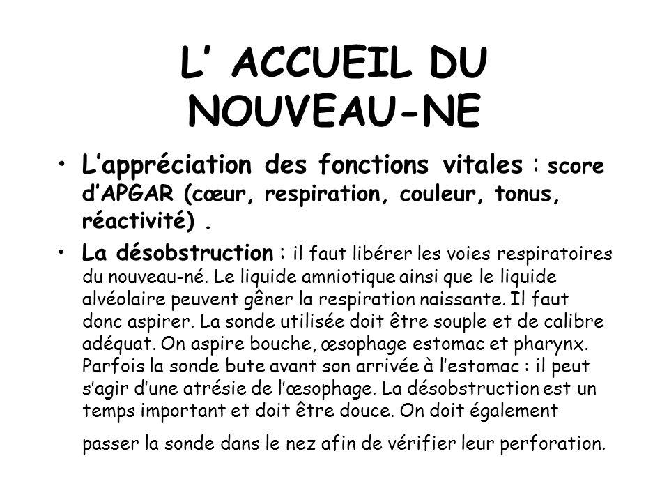 L ACCUEIL DU NOUVEAU-NE Lappréciation des fonctions vitales : score dAPGAR (cœur, respiration, couleur, tonus, réactivité).