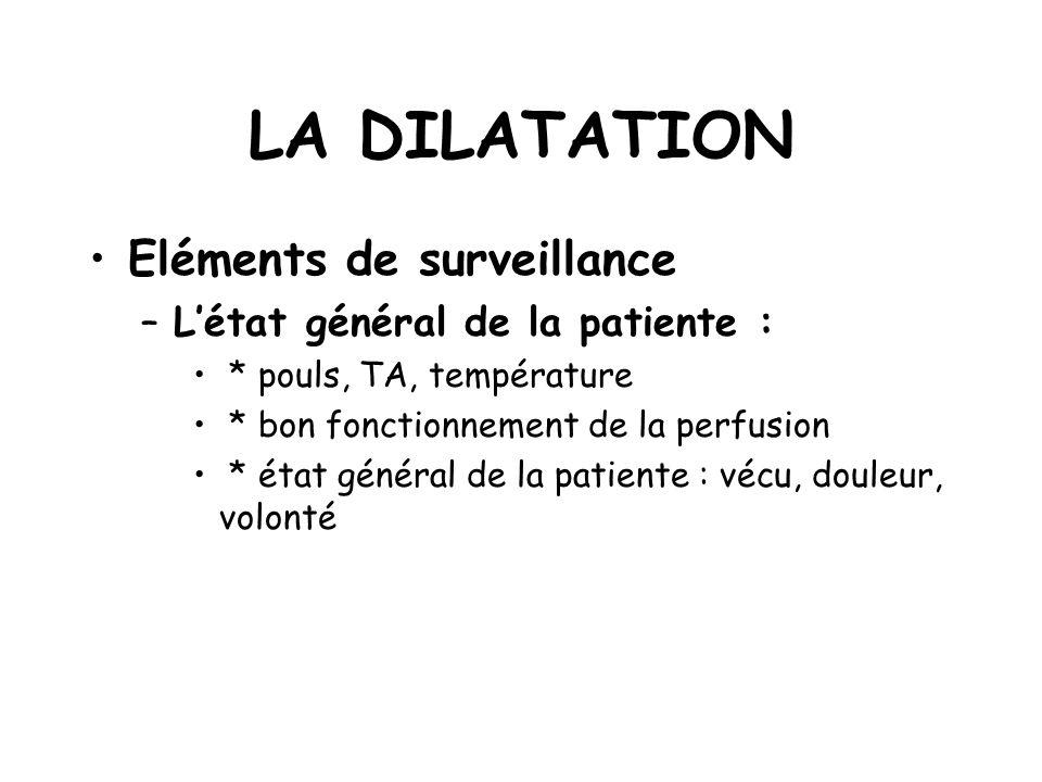 LA DILATATION Eléments de surveillance –Létat général de la patiente : * pouls, TA, température * bon fonctionnement de la perfusion * état général de la patiente : vécu, douleur, volonté