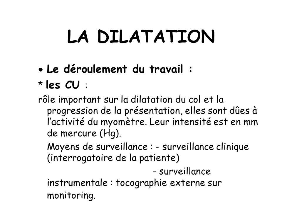 LA DILATATION Le déroulement du travail : * les CU : rôle important sur la dilatation du col et la progression de la présentation, elles sont dûes à lactivité du myomètre.