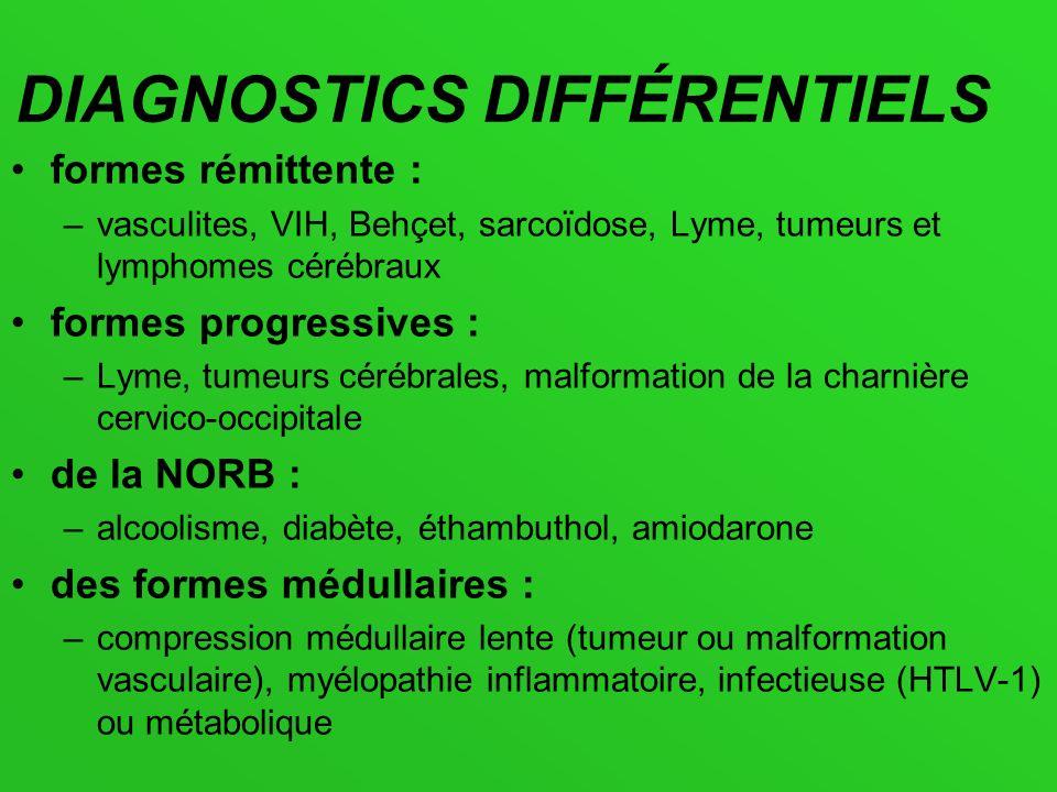 DIAGNOSTICS DIFFÉRENTIELS formes rémittente : –vasculites, VIH, Behçet, sarcoïdose, Lyme, tumeurs et lymphomes cérébraux formes progressives : –Lyme,