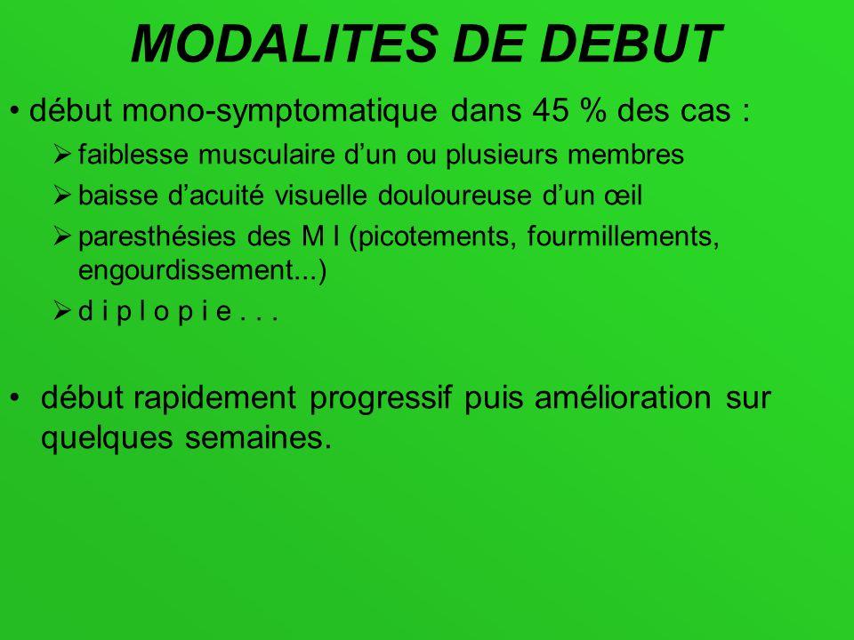 MODALITES DE DEBUT début mono-symptomatique dans 45 % des cas : faiblesse musculaire dun ou plusieurs membres baisse dacuité visuelle douloureuse dun