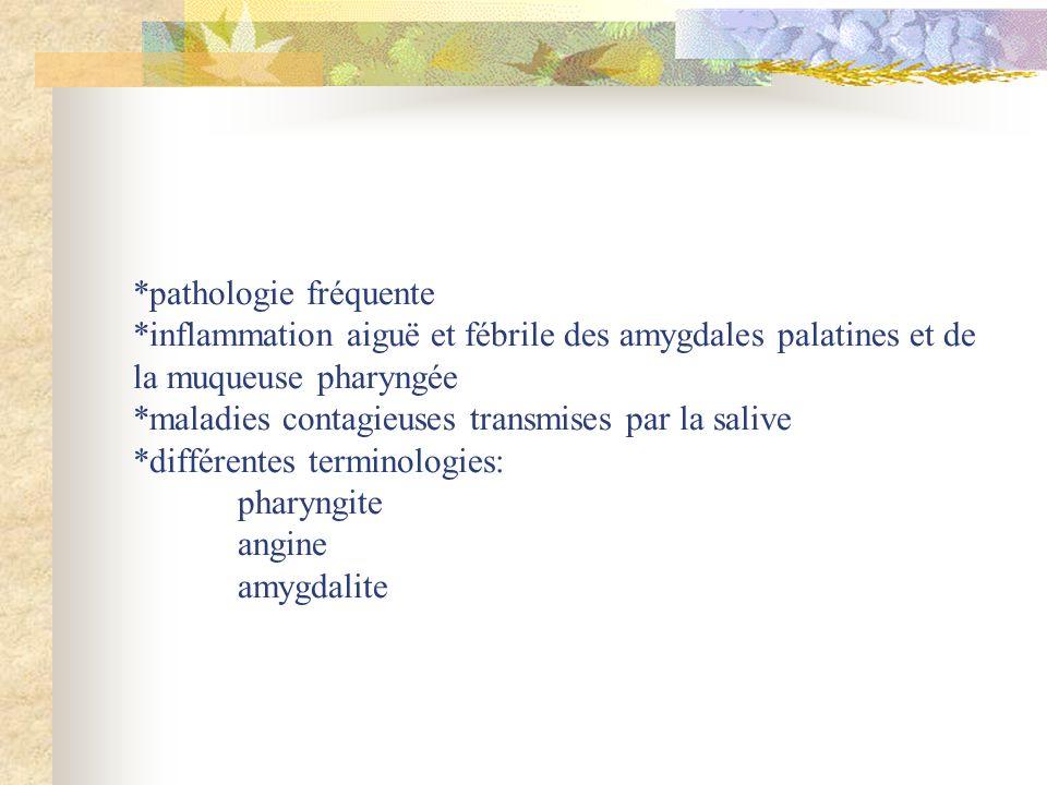 *pathologie fréquente *inflammation aiguë et fébrile des amygdales palatines et de la muqueuse pharyngée *maladies contagieuses transmises par la sali