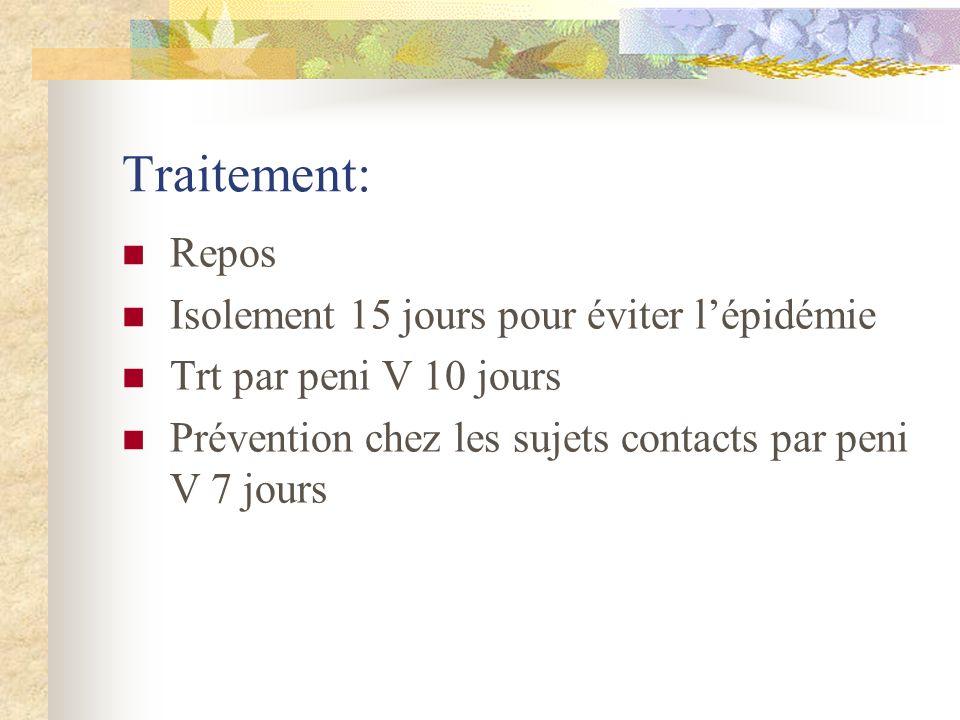Traitement: Repos Isolement 15 jours pour éviter lépidémie Trt par peni V 10 jours Prévention chez les sujets contacts par peni V 7 jours