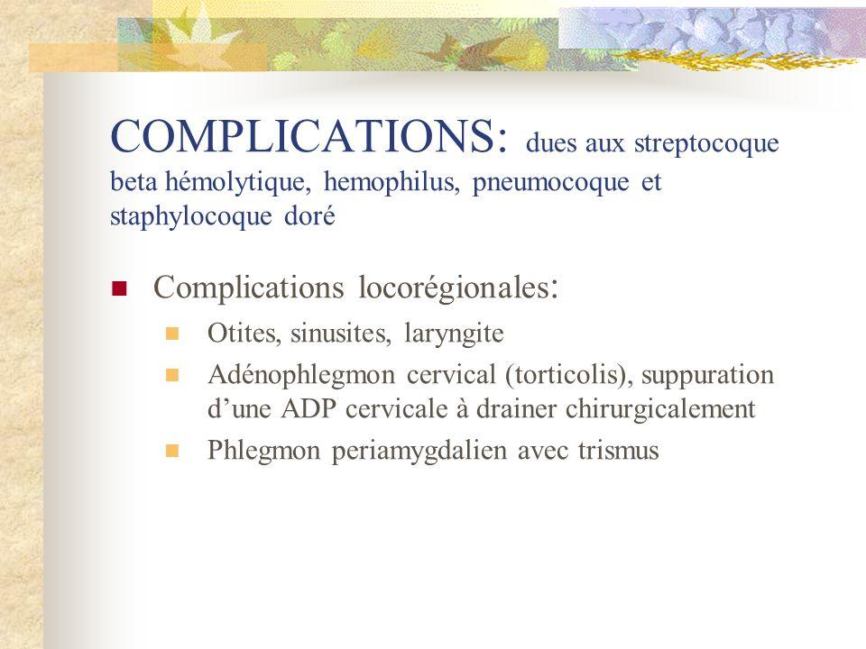COMPLICATIONS: dues aux streptocoque beta hémolytique, hemophilus, pneumocoque et staphylocoque doré Complications locorégionales : Otites, sinusites,