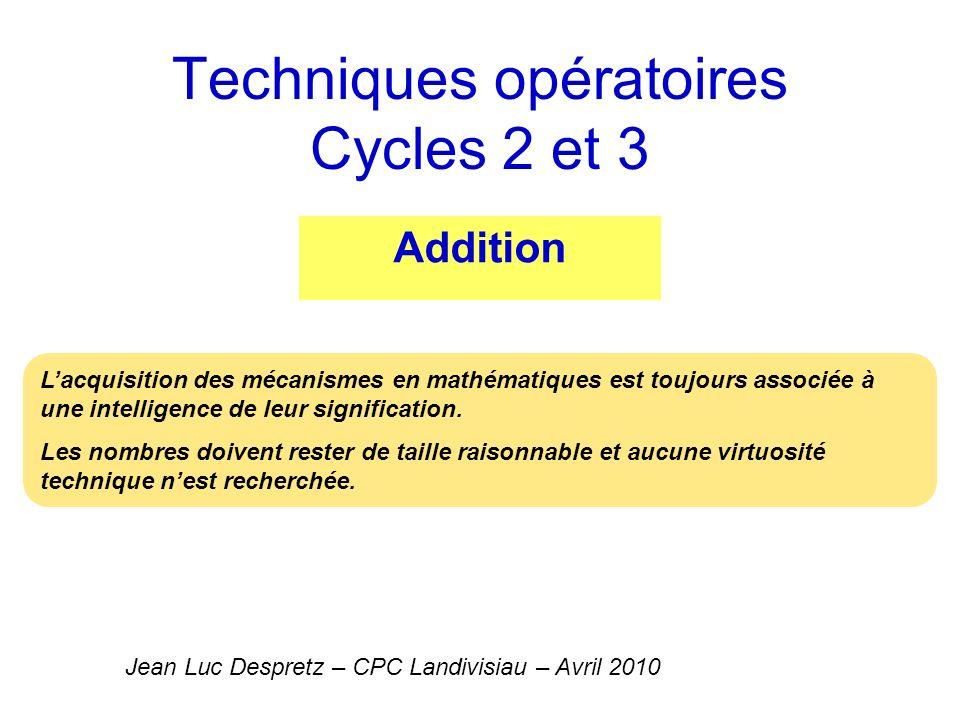 Techniques opératoires Cycles 2 et 3 Addition Jean Luc Despretz – CPC Landivisiau – Avril 2010 Lacquisition des mécanismes en mathématiques est toujou