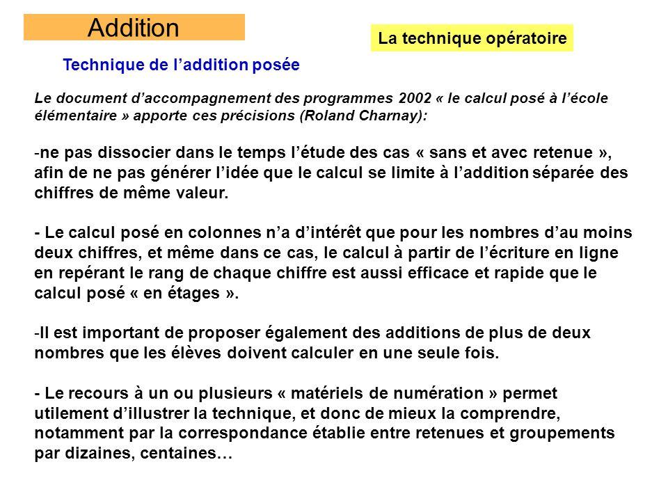 Addition La technique opératoire Technique de laddition posée Le document daccompagnement des programmes 2002 « le calcul posé à lécole élémentaire »