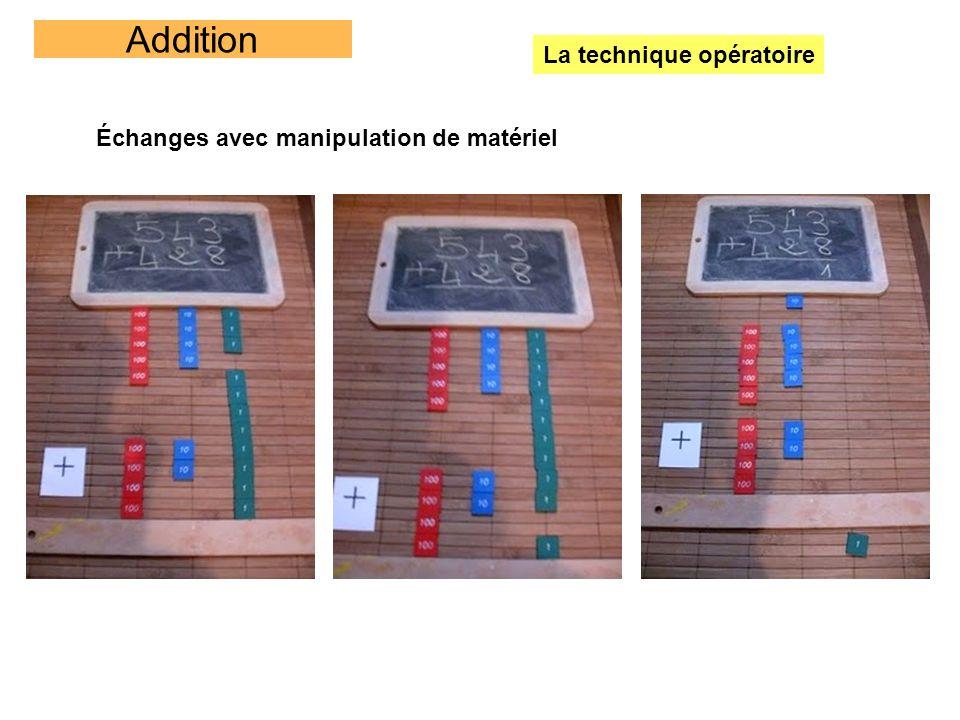 Addition La technique opératoire Échanges avec manipulation de matériel