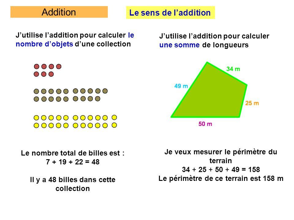 Addition Le sens de laddition Jutilise laddition pour calculer le nombre dobjets dune collection Le nombre total de billes est : 7 + 19 + 22 = 48 Il y