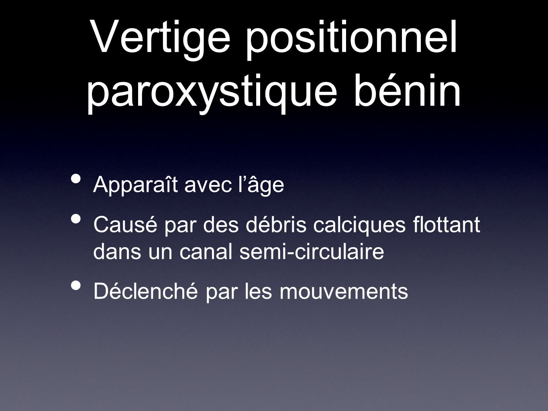 Vertige positionnel paroxystique bénin Apparaît avec lâge Causé par des débris calciques flottant dans un canal semi-circulaire Déclenché par les mouv