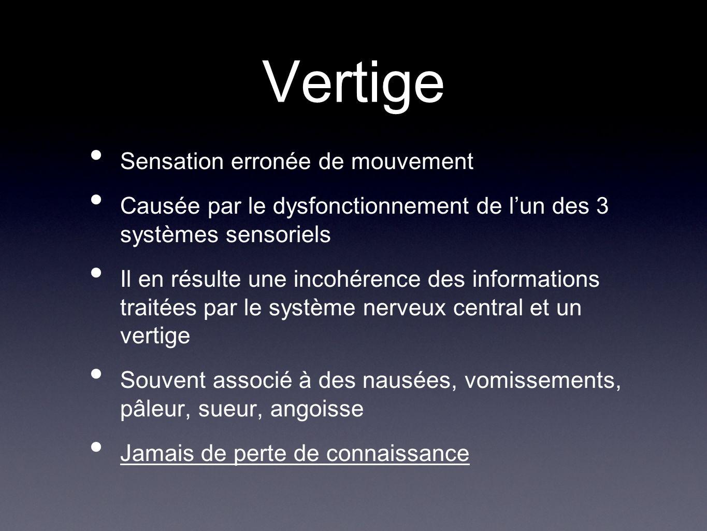 Vertige Sensation erronée de mouvement Causée par le dysfonctionnement de lun des 3 systèmes sensoriels Il en résulte une incohérence des informations