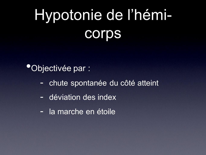 Hypotonie de lhémi- corps Objectivée par : - chute spontanée du côté atteint - déviation des index - la marche en étoile