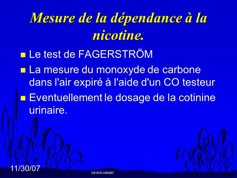 11/30/07 Mesure de la dépendance à la nicotine. n Le test de FAGERSTRÖM n La mesure du monoxyde de carbone dans l'air expiré à l'aide d'un CO testeur