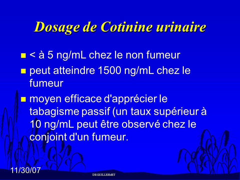 11/30/07 Dosage de Cotinine urinaire n < à 5 ng/mL chez le non fumeur n peut atteindre 1500 ng/mL chez le fumeur n moyen efficace d'apprécier le tabag