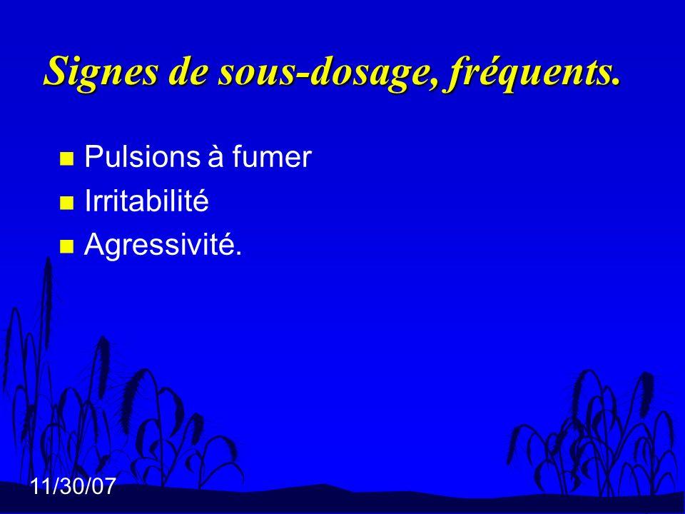 11/30/07 Signes de sous-dosage, fréquents. n Pulsions à fumer n Irritabilité n Agressivité.
