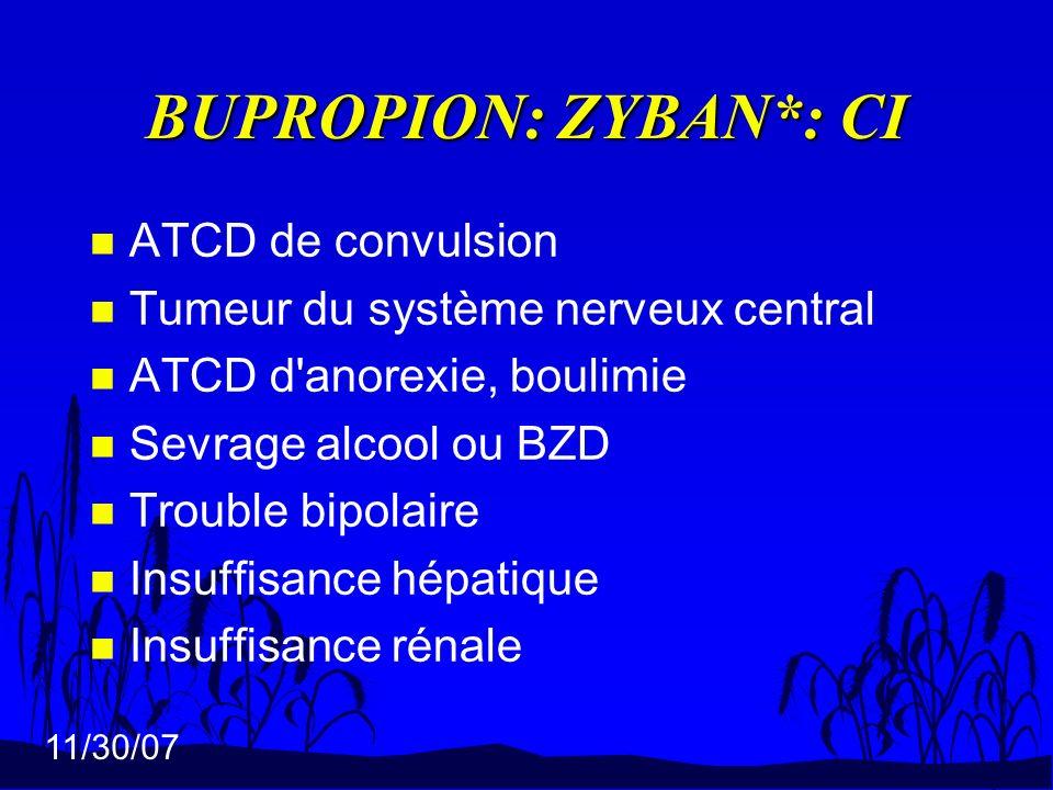 11/30/07 BUPROPION: ZYBAN*: CI n ATCD de convulsion n Tumeur du système nerveux central n ATCD d'anorexie, boulimie n Sevrage alcool ou BZD n Trouble
