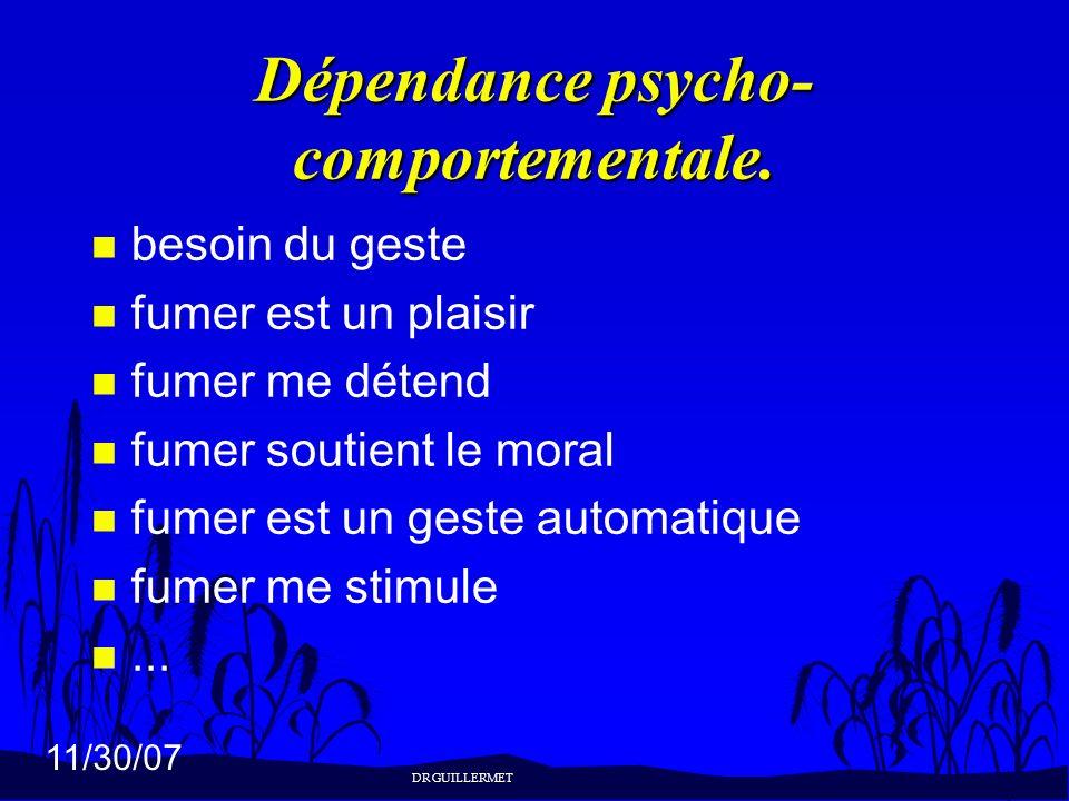 11/30/07 Dépendance psycho- comportementale. n besoin du geste n fumer est un plaisir n fumer me détend n fumer soutient le moral n fumer est un geste