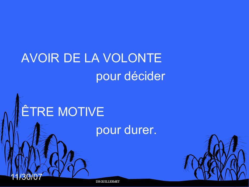 11/30/07 AVOIR DE LA VOLONTE pour décider ÊTRE MOTIVE pour durer. DR GUILLERMET