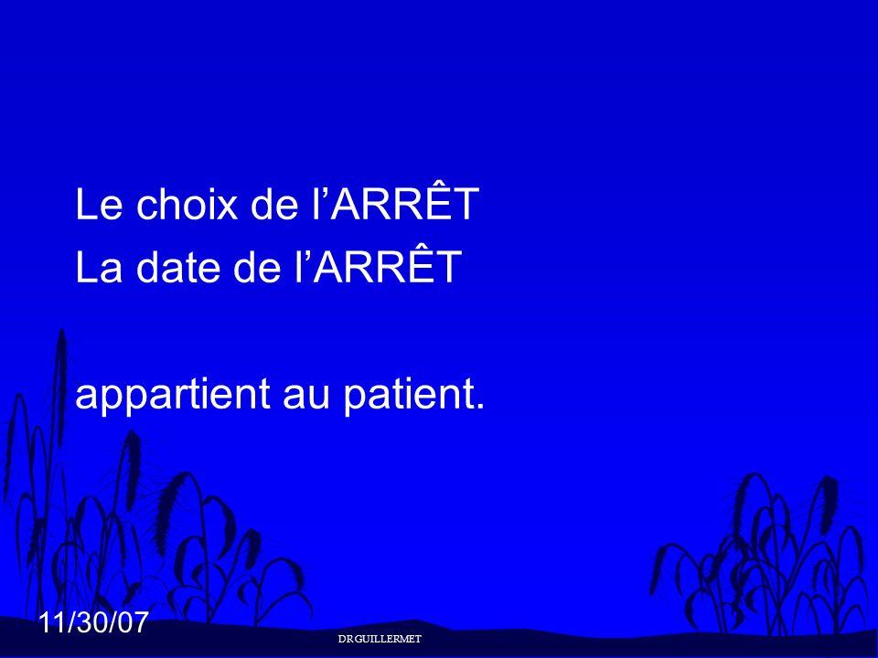 11/30/07 Le choix de lARRÊT La date de lARRÊT appartient au patient. DR GUILLERMET
