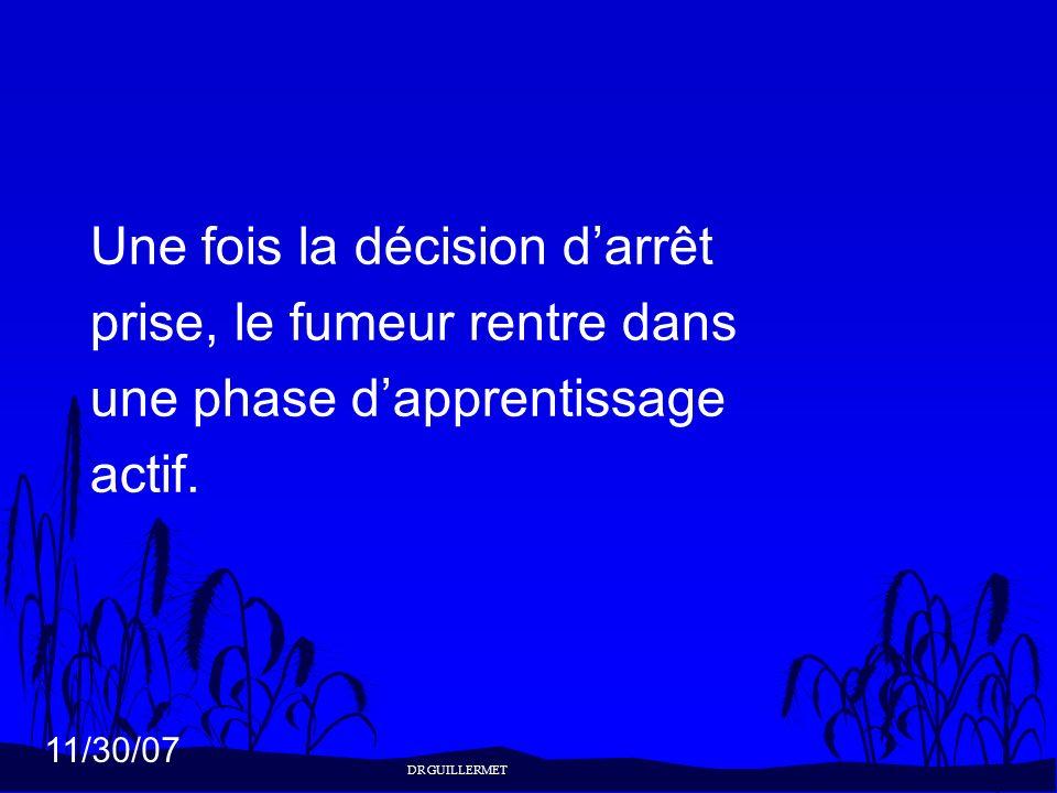 11/30/07 Une fois la décision darrêt prise, le fumeur rentre dans une phase dapprentissage actif. DR GUILLERMET