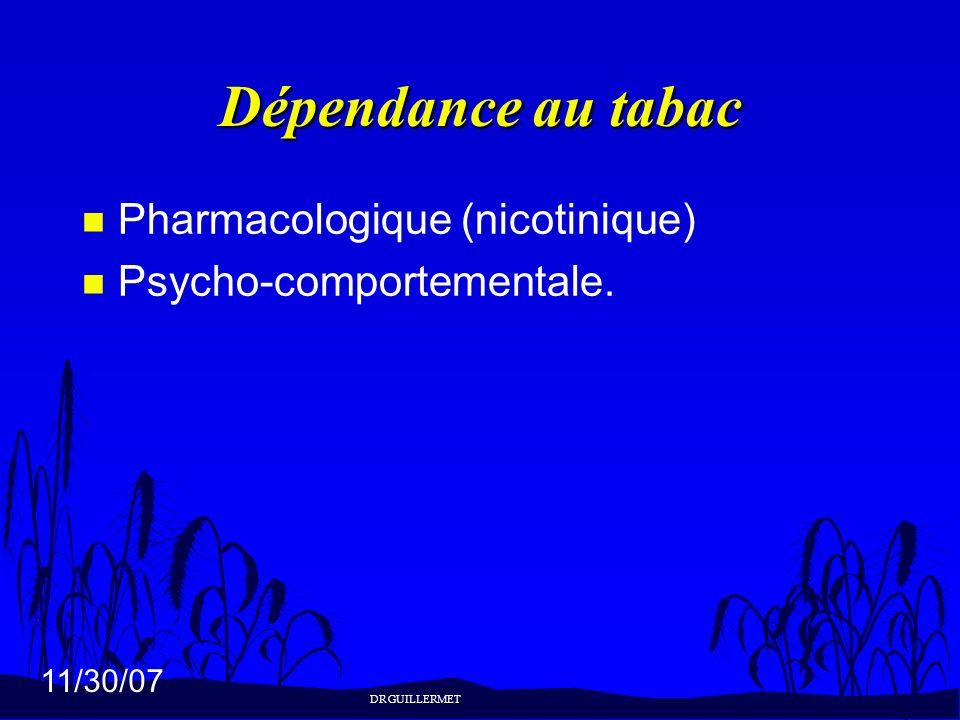 11/30/07 Dépendance au tabac n Pharmacologique (nicotinique) n Psycho-comportementale. DR GUILLERMET