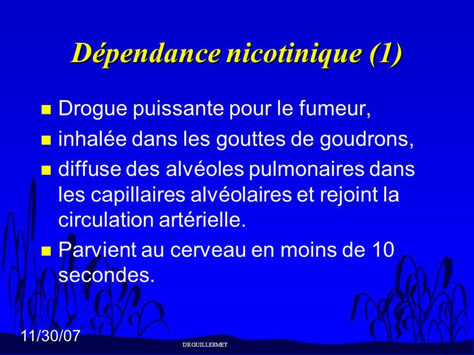 11/30/07 Dépendance nicotinique (1) n Drogue puissante pour le fumeur, n inhalée dans les gouttes de goudrons, n diffuse des alvéoles pulmonaires dans