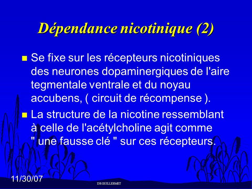 11/30/07 Dépendance nicotinique (2) n Se fixe sur les récepteurs nicotiniques des neurones dopaminergiques de l'aire tegmentale ventrale et du noyau a